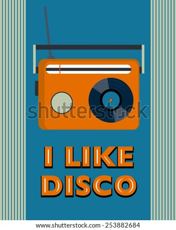 retro disco poster with radio - stock vector