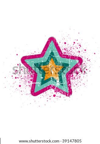 retro disco star - stock vector
