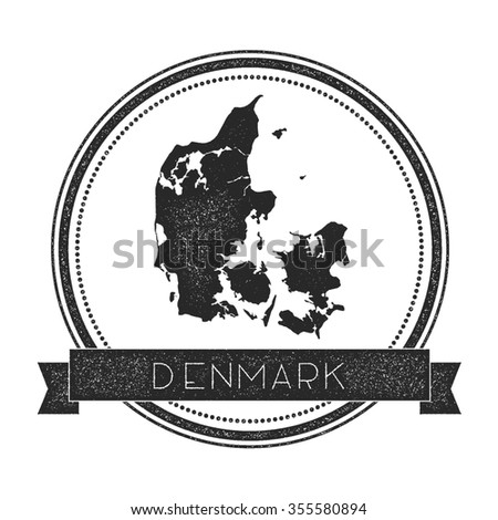 Retro distressed insignia with Denmark map. Hipster round rubber stamp with country name banner, vector illustration - stock vector