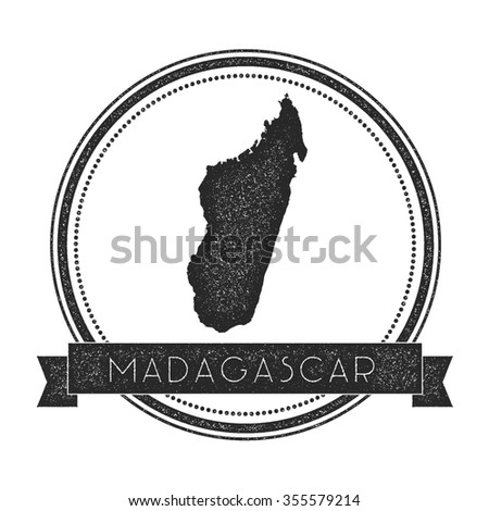 Retro distressed insignia with Madagascar map. Hipster round rubber stamp with country name banner, vector illustration - stock vector