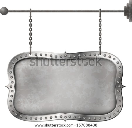 Retro distressed metal signboard on the chains - stock vector