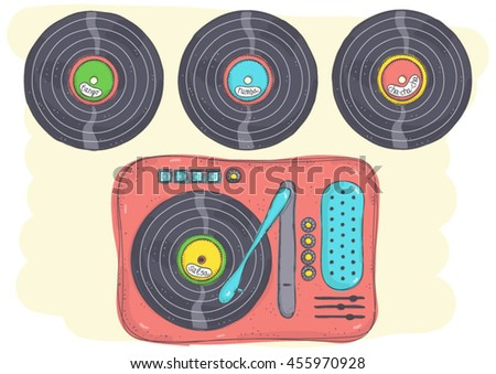 Retro doodle illustration of record player with Latin music records