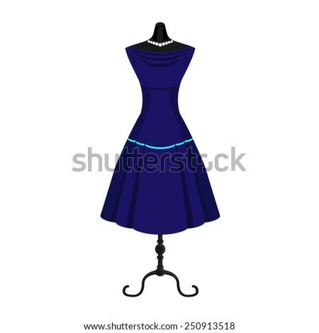 Retro dress - stock vector