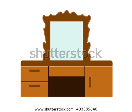 Retro Dressing table in flat style, vector - stock vector