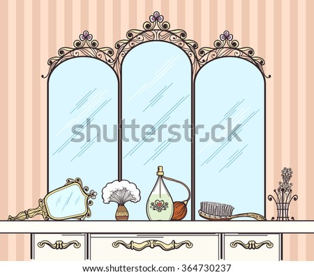 Retro Dressing Table Vector. Mirror And Hairbrush, Perfumes And Cosmetics.  Furniture Interior Dressing