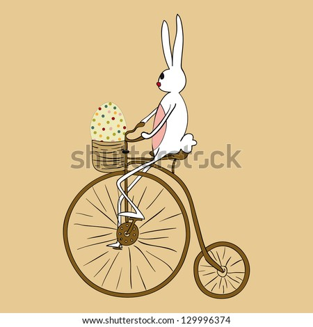 Retro Easter bunny biking an antique bicycle. EPS10 file version. This illustration contains transparencies and is layered for easy manipulation and custom coloring - stock vector