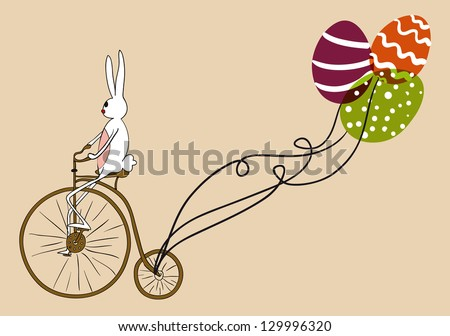 Retro Easter bunny biking an antique bike carrying decorative eggs as balloons. EPS10 file version. This illustration contains transparencies and is layered for easy manipulation and custom coloring - stock vector