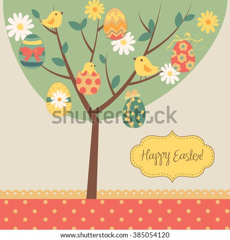 Retro Easter card with a tree, painted eggs, chicks, flowers and other cute elements - stock vector