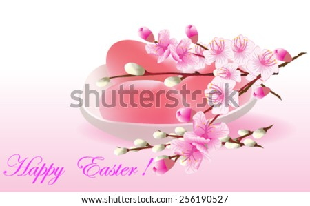 Retro Easter card with eggs and peach flowers - Vector illustration.