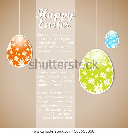Retro easter design template with eggs and copy space. eps10 - stock vector