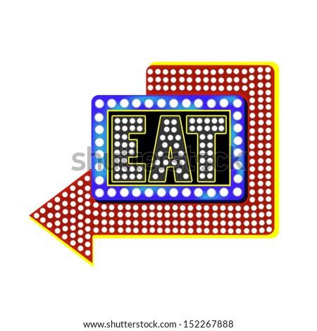"Retro ""Eat"" Sign, Vector Illustration - stock vector"