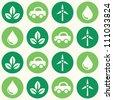 Retro eco green seamless background pattern - stock vector