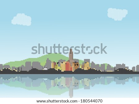Retro Eight Bit City Skyline with Reflections Background - Vector Illustration - stock vector