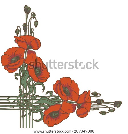 Retro elegant art-nouveau style frame with poppies