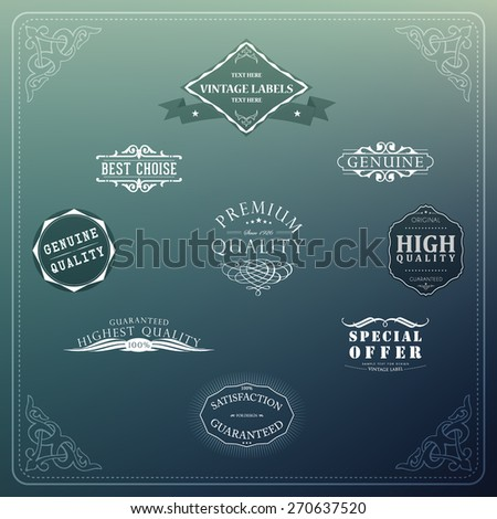 Retro elements for calligraphic designs | Vintage ornaments | Premium Quality labels | Guaranteed, Coffee and Genuine labels  - stock vector