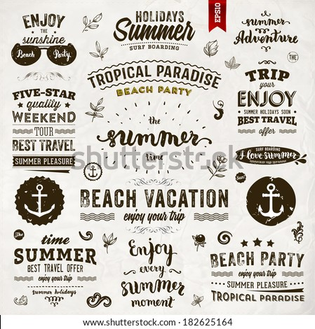 Retro elements for Summer calligraphic designs  - stock vector