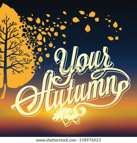 Retro elements for Summer calligraphic designs. Autumn, sunset. Typographical Background. EPS 10