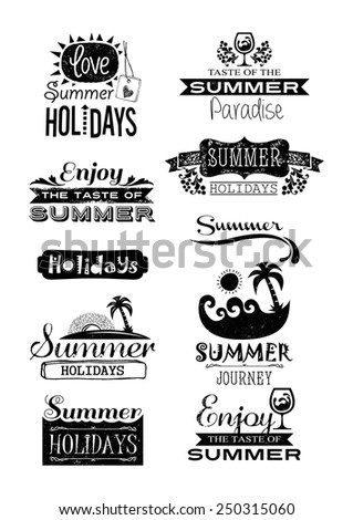 Retro elements for Summer calligraphic designs, Vintage ornaments, All for Summer holidays, tropical paradise, sea, sunshine, weekend tour, beach vacation, adventures, Vector labels - stock vector