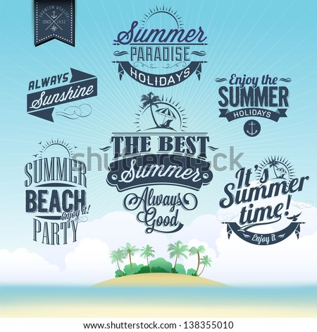 Retro Elements For Summer Holidays Calligraphic Designs