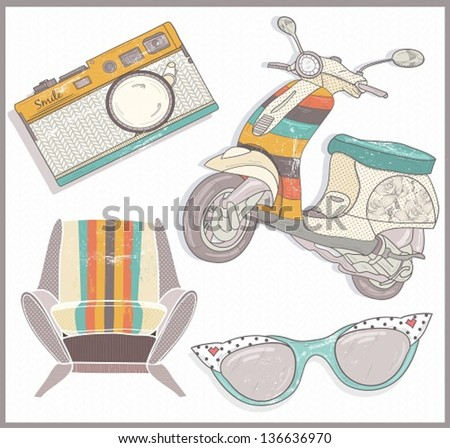 Retro elements set. Armchair, scooter,camera and sunglasses - stock vector