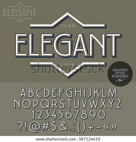 Retro emblem for luxury vintage shop. Vector set of letters, numbers and symbols. - stock vector