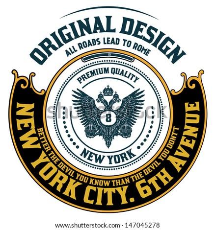 Retro emblem, Heraldic elements - stock vector