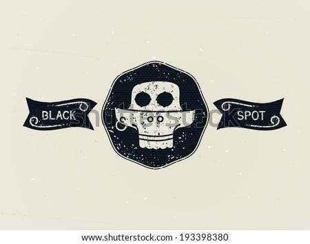 Retro emblem - Jolly Roger - on pirate Black Spot. Vector eps 10 - stock vector