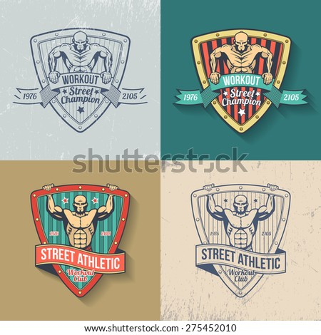 Retro emblem of athletic club in color and monochrome versions. Logos gym, fitness club, street workout club. Muscular man on emblem in old-school style. Scratches on separate layer - easy to remove. - stock vector