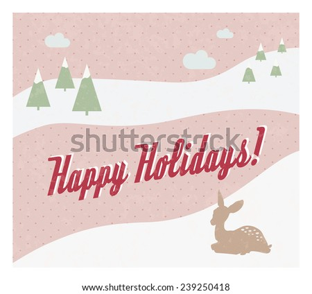 Retro eps10 holiday card with snowy landscape and deer  for web site banner, advertisement, greeting - pink version - stock vector