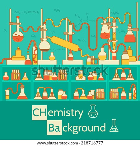 Retro experiments in a chemistry laboratory background concept. Vector illustration design