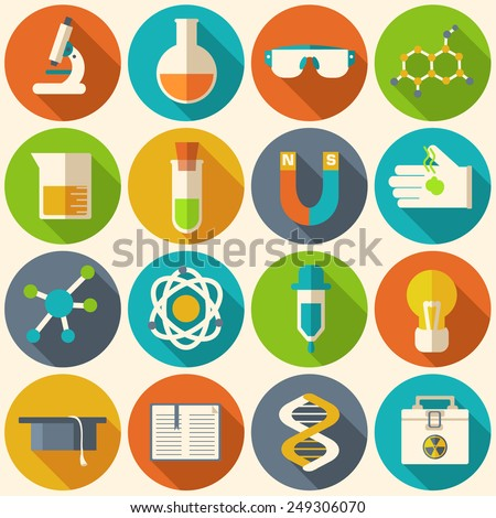 Retro experiments in a science chemistry laboratory icon concept. Vector illustration design template for web and mobile - stock vector