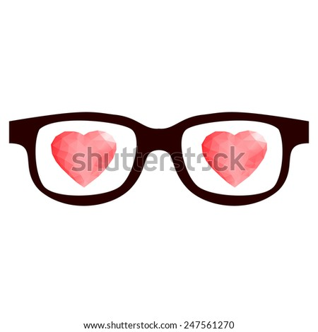 Retro eye glasses with shining red 3d hearts.