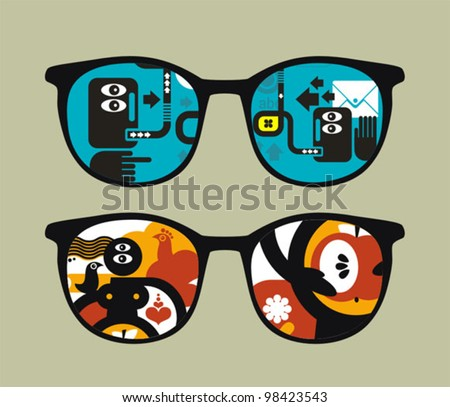 Retro eyeglasses with abstract people reflection in it. Vector illustration of accessory -  isolated sunglasses.