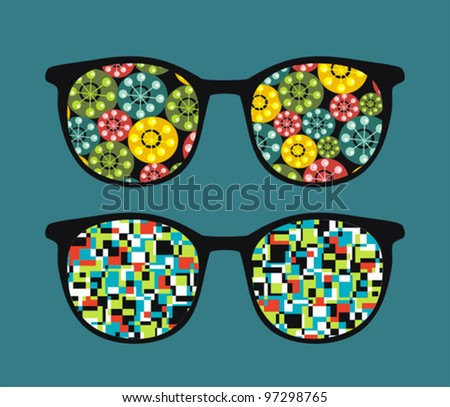 Retro eyeglasses with abstract reflection in it. Vector illustration of accessory.