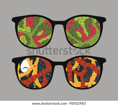 Retro eyeglasses with abstract space reflection in it. Vector illustration of accessory -  isolated sunglasses.