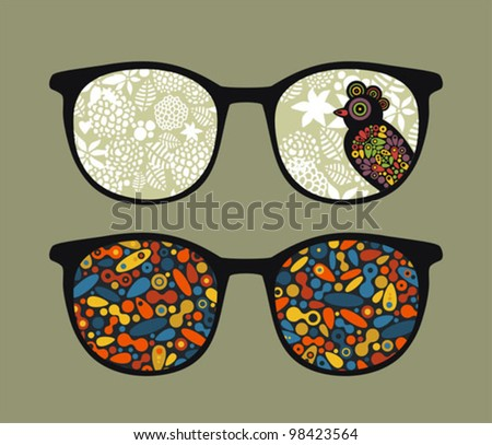 Retro eyeglasses with bird and pattern reflection in it. Vector illustration of accessory -  isolated sunglasses.