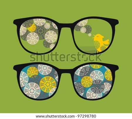 Retro eyeglasses with birds reflection in it. Vector illustration of accessory.