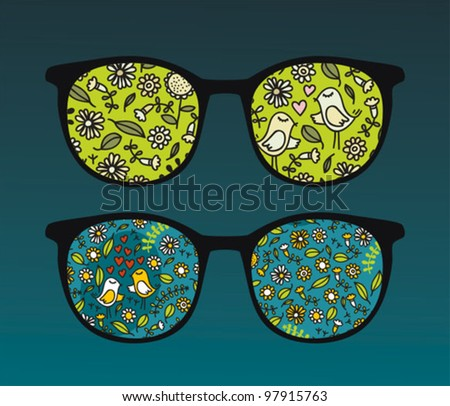 Retro eyeglasses with cute birds reflection in it. Vector illustration of accessory.