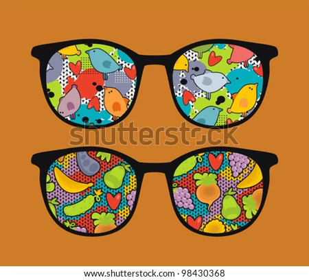 Retro eyeglasses with cute  reflection in it. Vector illustration of accessory -  isolated sunglasses.