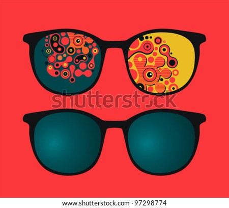 Retro eyeglasses with psychedelic reflection in it. Vector illustration of accessory.