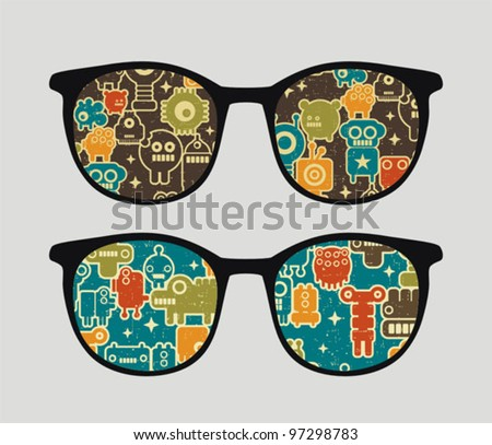 Retro eyeglasses with robots reflection in it. Vector illustration of accessory.