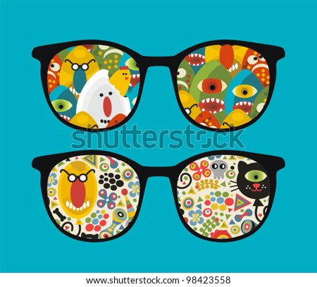 Retro eyeglasses with strange and ugly reflection in it. Vector illustration of accessory -  isolated sunglasses.