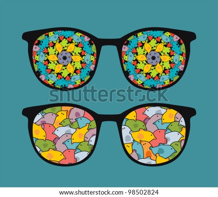Retro eyeglasses with sweet birds reflection in it. Vector illustration of accessory -  isolated sunglasses.
