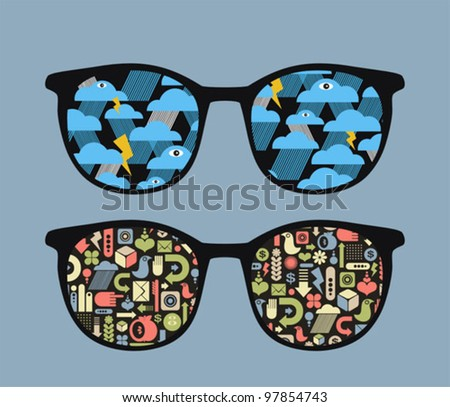 Retro eyeglasses with symbols reflection in it. Vector illustration of accessory.