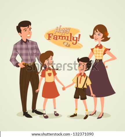Retro family illustration - stock vector