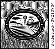 Retro farm black and white. Vector - stock vector
