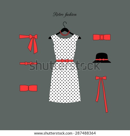Retro fashion background. Vector accessory Set.  - stock vector