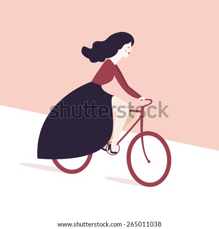 retro fashion girl on  bike . vector illustration on a pink background. romantic girl riding bicycle. Vector colorful postcard with cute fashion girl on bicycle. - stock vector