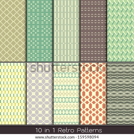 retro fashion patterns collection set for making seamless wallpapers