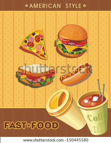 Retro Fast Food Menu Cards. Elegance food design